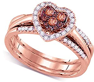 Size 5.5 - 14k Rose Gold Round Chocolate Brown Diamond Heart Cluster Bridal Wedding Engagement Ring Band Set (1/2 Cttw)