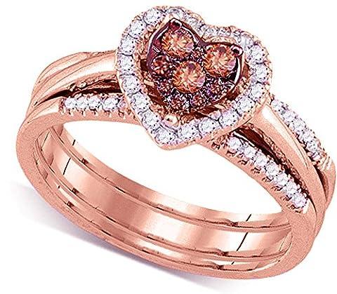 14K Rose Gold Brandy Diamond Chocolate Brown Heart Halo Bridal Wedding Engagement Ring Band Set 1/2 (Chocolate Diamond Rose Gold Band)