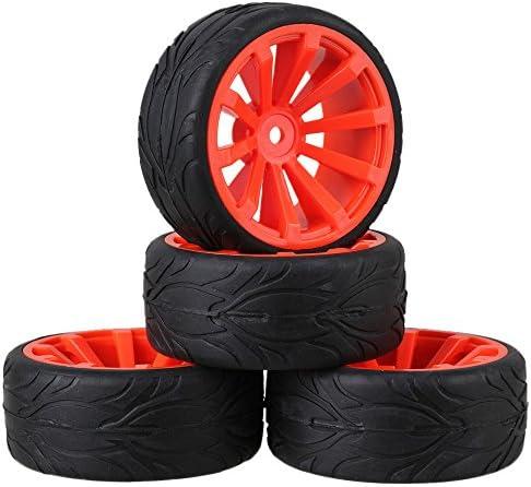 Mxfans RC 1:10 オンロードカー ブラック フィッシュスケールパターン ラバータイヤ&レッドプラスチック凹型 10ス