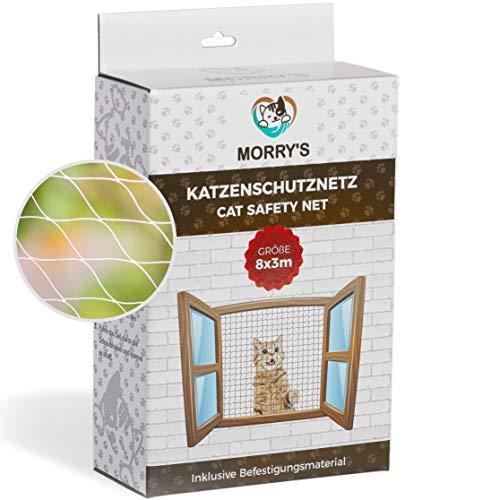 Morry's Katzennetz Transparent für Balkon & Fenster| 8x3m Sicherheitsnetz inkl. Befestigungsmaterial