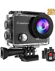 Crosstour Action Cam Echte 4K 20MP WiFi Unterwasser 40M Kamera Anti-Shake Zeitraffer & Loop-Aufnahme Plus 2 Wiederaufladbare 1350mAh Akkus USB-Ladegerät und Zubehör-Sets