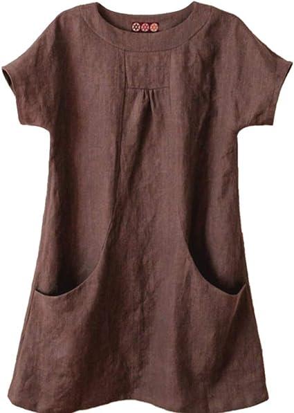VEMOW Camisas de Mujer Casual de Las Mujeres de Cuello Redondo sólido Manga Corta de Lino Suelto Bolsillo Tops Blusa: Amazon.es: Ropa y accesorios