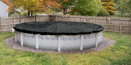 Pool Mate 3824-PM Black Mesh Winter Pool Cover for Round Above Ground Swimming Pools, 24-ft. Round Pool