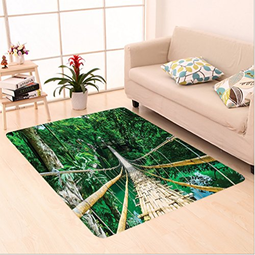 6.5' Suspension (Nalahome Custom carpet Bamboo Pedestrian Suspension Bridge over River in Tropical Forest Bohol Philippines Green Beige area rugs for Living Dining Room Bedroom Hallway Office Carpet (6.5' X 10'))