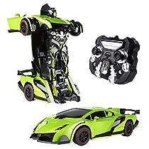 SainSmart Jr. RC Transformator Roboter-Auto, Fernbedienung Aktion Deformation Figur,Form-Schicht-Modell Auto, One-Touch-Transforming (Grün)