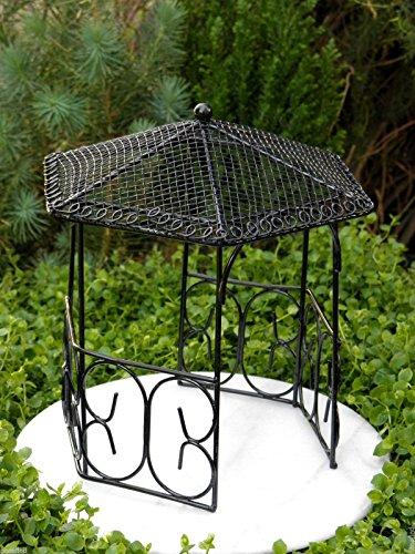 Fairy Garden Figurine Miniature Dollhouse FAIRY GARDEN Furniture ~ Large Black Metal Gazebo ~Trimiurti online-store