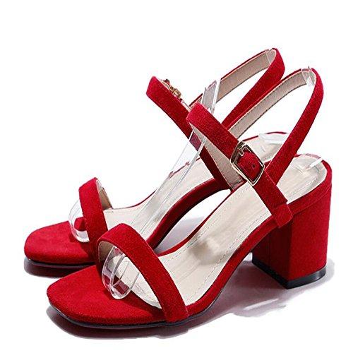 Verano Irregular Con Sandalias De Dedo Femenino Sandalias Señoras Cabeza Cuadrada Rojo
