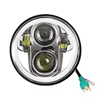 5.75 5 3/4 Inch Chrome Daymaker LED Headlight Halo with DRL for Harley Davidson Motorcycles