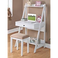 Poundex PDEX-F4684 Writing Desk and Stool w/White Color Finish Pine Wood