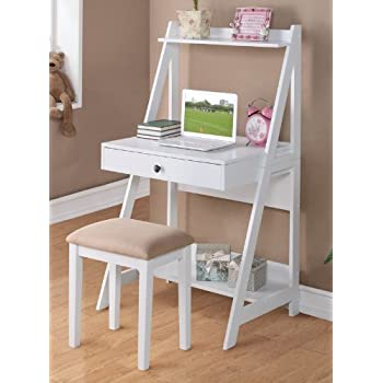 Writing Desk and Stool w/White Color Finish Pine Wood by Poundex  sc 1 st  Amazon.com & Amazon.com: Writing Desk and Stool w/White Color Finish Pine Wood ... islam-shia.org