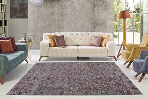 """Price comparison product image Concord Sedef Collection Contemporary European Smooth Abstract Pattern Area Rug Carpet in Plum-Grey,  3'11"""" x 5'7""""(120cm x 170cm)"""