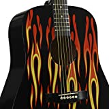 Main Street Guitars MAFL Dreadnought Acoustic Guitar in High Gloss Black with Flames