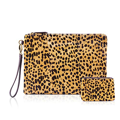 (Leopard Clutch with Coin leopard Purse for women wristlet Wallet Genuine Leather Haircalf Ladies Evening Envelope bag (Leopard-A))