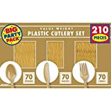 Reusable Big Party Pack Window Box Cutlery Set, Saver Pack Of 8 (Each Includes 210 Pieces), Made from Plastic, Gold by Amscan