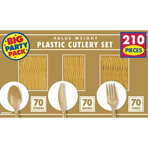 Reusable Big Party Pack Window Box Cutlery Set, Saver Pack Of 8 (Each Includes 210 Pieces), Made from Plastic, Gold by Amscan by Amscan