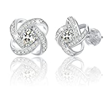 "J.Rosée Jewelry Studs Earrings Sterling Silver ""Never Ever Be Apart"" Cubic Zirconia"
