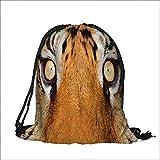 Thick Drawstring Pocket Safari Close up Tiger Eyes Hunter Look Feline uflage Coat with Shady Colors Orange Black with Drawstring Closure 12''W x 16''H