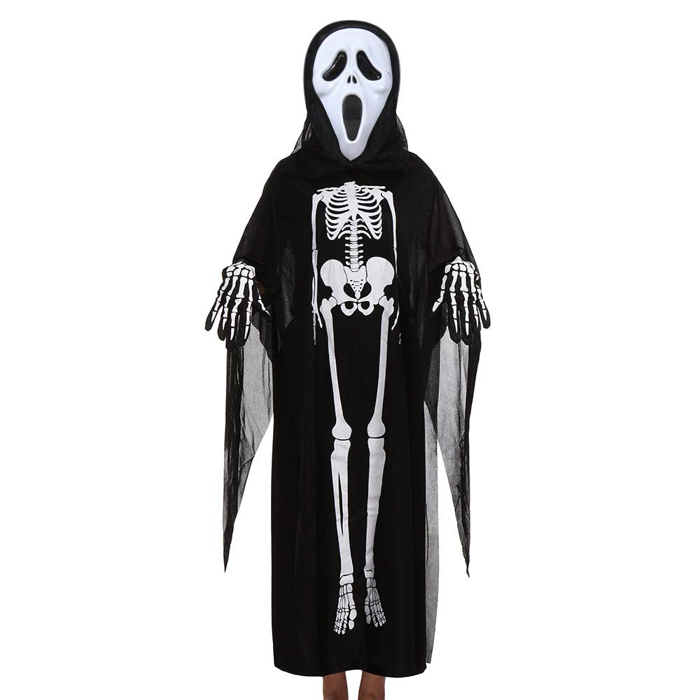 Halloween 3 PCs Parent Enfant Vêtements Cloak + Masque + Gants Ensemble Outfit Ghost Deguisement, QinMM Papa Mère Chapeau Costume de Sorcier Filles Garçons Femme Homme Cosplay Carnaval QinMM_Enfant