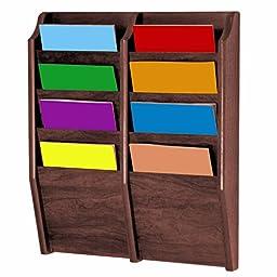 Wooden Mallet 8-Pocket Cascade Magazine Rack, Medium Oak