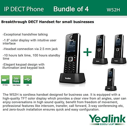 Yealink W52H - Bundle of 4 SIP Cordless Phone System for business solutions by Yealink