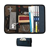 Travel Gear Organizer with Passport Cash Card Slots - Maxjoy Roll-up Electronics Accessories Organizer, Small Gadget Carry Case for Chargers USB Cables and Other Electronics Accessories, Blue