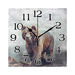 Linomo North American Brown Bear Wall Clock Decor, Silent Non Ticking Square Clock Quiet for Kitchen Living Room Bedroom Bathroom Office