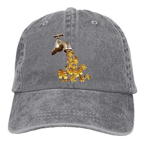 Cotton Denim Cap Baseball Hat Faucet Money Symbol Six-Panel Adjustable Trucker Dad Hat Gray