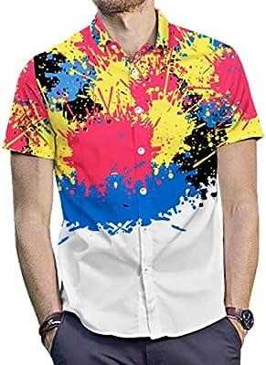 GRMO Men Splashing Ink Print Cotton Long Sleeve Button Down Shirt Top