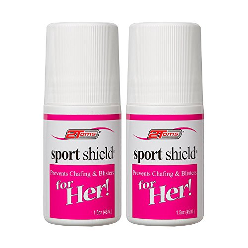 2Toms SportShield for Her Chafing and Blisters Prevention, Waterproof, for Thigh Rubbing, Foot, Skin Friction and Anti Chafe Protection, 1.5 Ounce Roll-On 2-Bottles