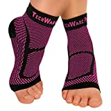 TechWare Pro Ankle Brace Compression Sleeve - Relieves Achilles Tendonitis, Joint Pain. Plantar Fasciitis Foot Sock with Arch Support Reduces Swelling & Heel Spur Pain. (Black / Pink, S / M)