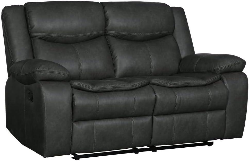 Blackjack Furniture Marsden Modern Leather Air Living Room Reclining, Loveseat, Sleek Gray