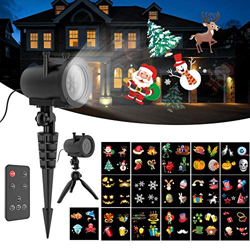 Elec3 Christmas Holiday Led Projection Light 10W, 20 Slides Projector Light Waterproof with RF Romote Used for Home Party Holidays Halloween Decoration
