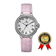 BRIGADA Swiss Watches for Women, Fashion Quartz Waterproof Ladies Watches for Girls Women (pink)