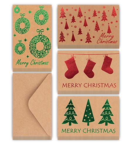 Christmas Cards Bulk Pack Of 36 Merry Christmas Greeting Cards with Envelopes 4 Assorted Designs With Metallic Hot-stamp
