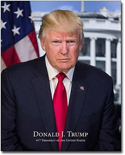 President Donald Trump Official Presidential Portrait With Name 8x10 Silver Halide Photo -