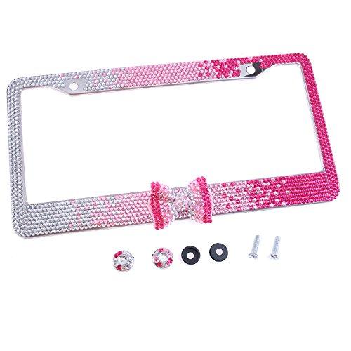 Global_Shopper Fashion Gradient Pink Bowtie Bling Crystal License Plate Frame Cute Rhinestone Car/Truck/SUV License Plate Holder(1 Frame) ()