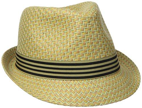 Henschel Men's Straw Fedora With Striped Band, Beige, Medium Henschel Straw
