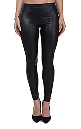 1029ecdc0ef119 PrettyFashion Women's Black Wet Look Matte Faux Leather Leggings  Elasticated Waistband Plus Size 8-16