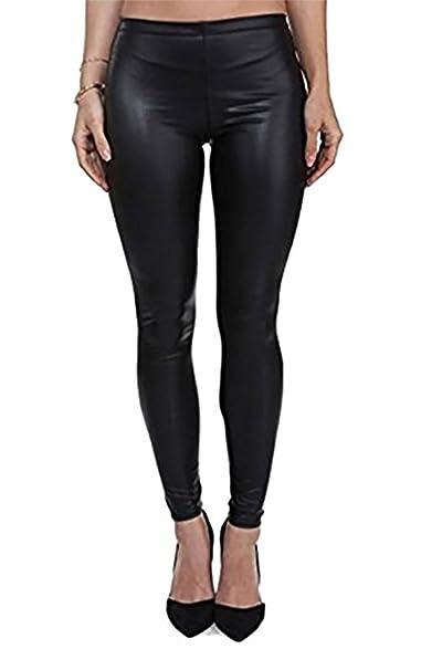 PrettyFashion Leggings de Piel Mujer Elásticos de Moda de PU ...