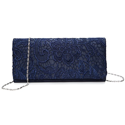 UBORSE Women's Elegant Floral Lace Evening Party Clutch Bags Bridal Wedding Purse Handbag Dark Blue
