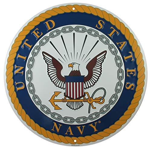 - Tags America United States Navy Logo Metal Sign, 12 Inch Round Embossed Aluminum Emblem, US Military Service Branch Wall Decor