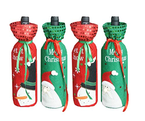 snowman and Santa Claus Wine Bottle Cover Bag 4pcs