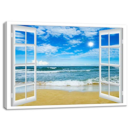 KALAWA Large Window Frame Style Beach Seascape Canvas Print Wall Art Modern Sea Landscape Picture for Office Gifts Living Room Bedroom Stretched and Wooden Framed Ready to Hang(24''H x 36''W) (Frame Art Window)
