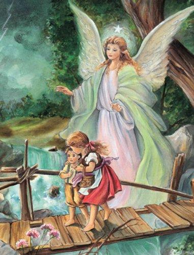 Guardian Angel Leading Children Across A Bridge Print Around 1900