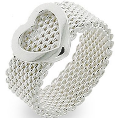 .925 Sterling Silver HEART woven Flexible Somerset Mesh Screen Ring 5-9 (sterling-silver, 8)