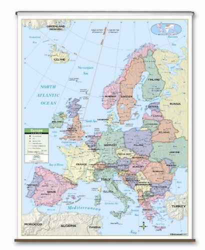 Map Wall Primary - Europe Primary Classroom Wall Map on Roller