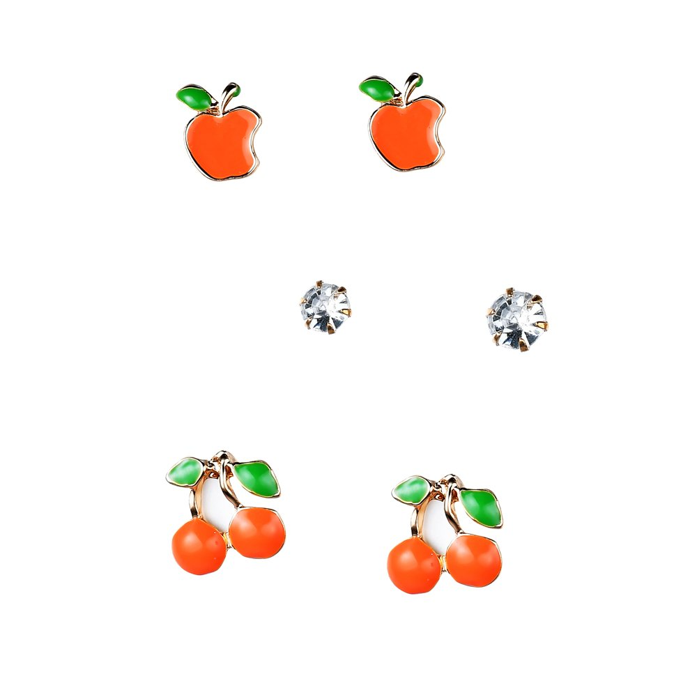 by JADA Collections Gold Tone Hand Painted Apple /& Cherry Sparkly Crystal Stud Earrings Set