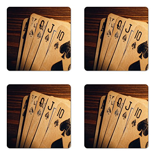 Lunarable Poker Tournament Coaster Set of Four, Retro Damaged Old Cards on a Wooden Table Close Up Leisure Image, Square Hardboard Gloss Coasters for Drinks, Brown Black Blue