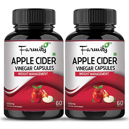 Farmity Apple Cider Vinegar Vegetarian Capsules Daily Dietary Supplement For Men and Women 500mg 60 Capsules (Pack of 2)