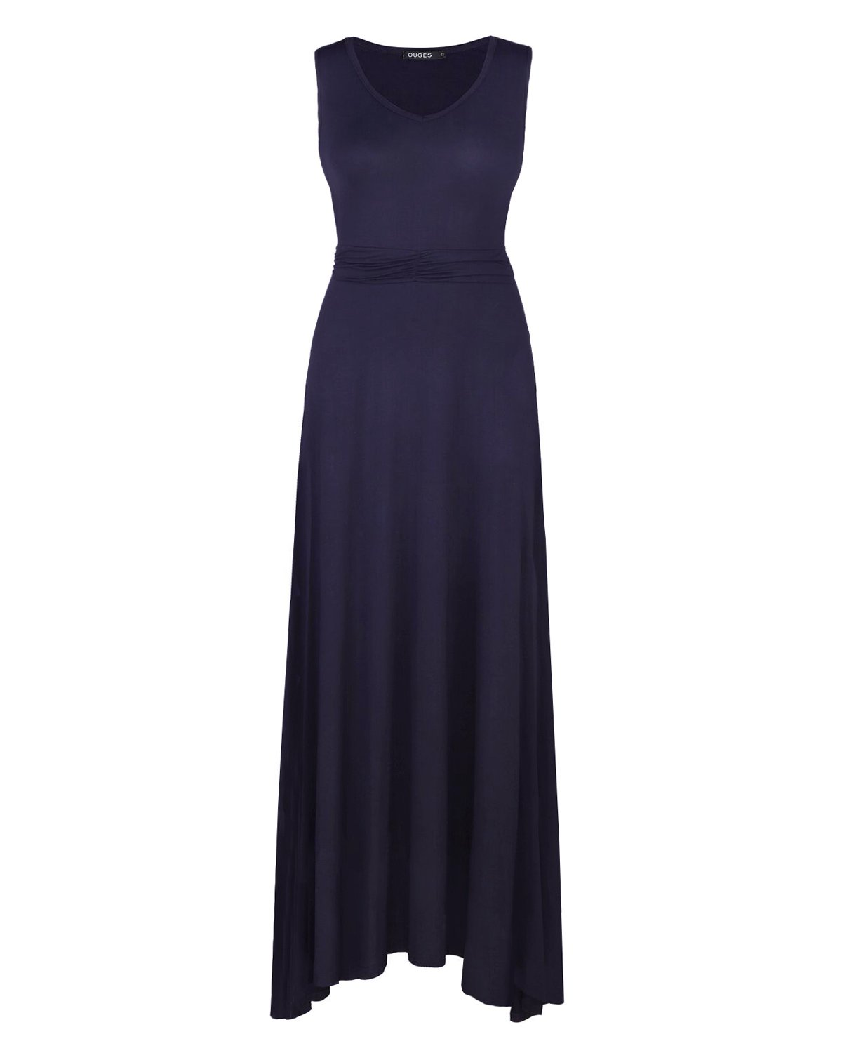 OUGES Women's V Neck Sleeveless Summer Casual Long Maxi Dresses(Navy,S) ¡­ by OUGES (Image #2)